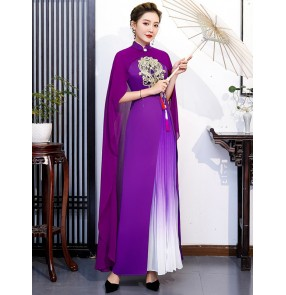 Violet green red Chinese dress for women oriental Catwalk retro cheongsam long performance costume miss etiquette show singers dresses