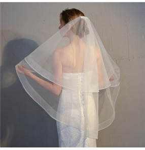 Wedding party bridal white veil tulle double layers veil for bride photos shooting bridal head scarf
