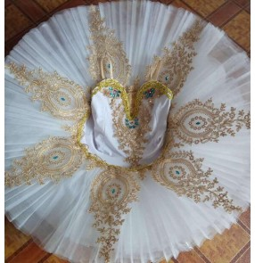 White ballet dance dresses for kids children swan lake competition professional swan lake tutu platter pancake skirts dresses
