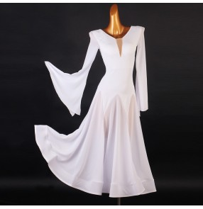 White ballroom dance dress for women girls long sleeves ballroom dance skirt waltz tango foxtrot stage performance costumes for female