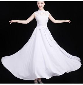white black lace modern dance ballet dance dress for women girls stage performance ballroom dance dresses choir dress for female