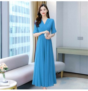 White blue long Chiffon dress female fairy sexy slim plus size swinging beach resort long skirt v neck beach dresses