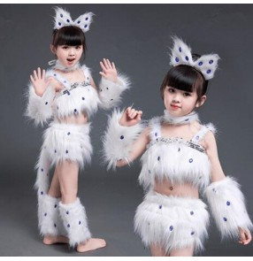white cat cosplay fur costumes for girls jazz dance costumes fox girl cosplay animal dance costumes for children Halloween cosplay outfits