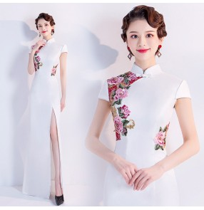 White chinese dress evening dress oriental traditional chinese style cheongsam stage performance host singers miss etiquette show dresses