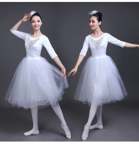 White color modern dance ballet dresses for women female girls stage performance tutu skirt dance costumes