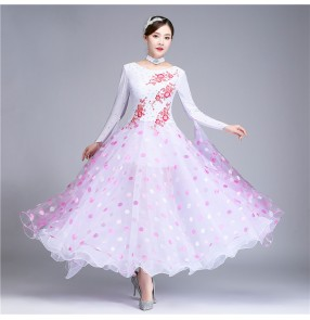 White colored women girls ballroom dancing dresses stage performance waltz tango dance dresses