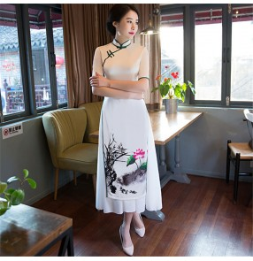White floral chinese dresses for women retro traditional qipao dress stage performance miss etiquette show cheongsam dresses