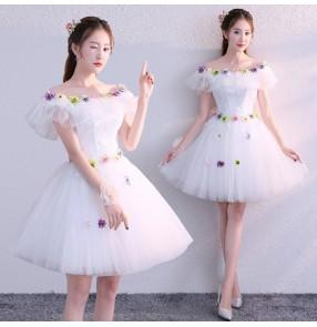 White flowers Evening dress for women girls pettiskirt short bridesmaid dress cocktail banquet party prom dress host singers performance dresses