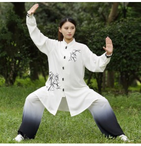 White gradient Tai Chi clothing women's spring and autumn embroidery wushu kungfu performance clothing morning exercise uniforms martial arts Tai Chi exercises suit