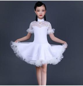 White lace ballroom latin dance dress for kids children salsa latin dance costumes for girls