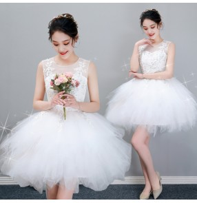 White lace party evening dress prom gown for women girls wedding party bridesmaid dress banquet graduation party mini dresses