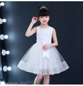 White light pink colored princess dress flowers girls dress modern dance stage performance jazz dance dresses ballet chorus dresses