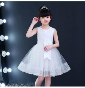 White light pink colored princess dress flowers girls dress modern dance stage performance jazz dance dresses ballet chorus dresses