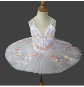 White little swan lake ballet dance dress tutu skirt for kids girls professional stage performance ballet dance costumes ballerina dress for children