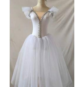 White pink long ballet dress for girls kids ballerina Professional moden dance tutu skirt Children Little Swan Performance Costume