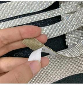White rhinestone chain backed with sticker DIY rhinestones for clothing shoes bags DIY gem stickers dance dress wedding belt automobile decoration