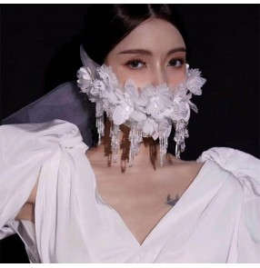 White tulle flowers crystal tassel mask for women girls half face mask sexy cold masquerade cosplay mask film perform killer cos mask