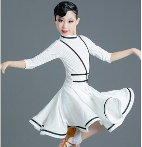 White with black velvet girls ballroom latin dance dresses stage performance latin dance dress for kids