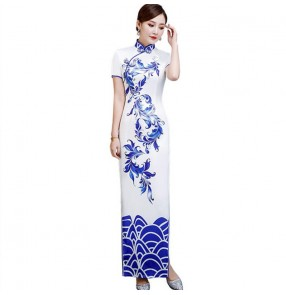 White with blue chinese dress china qipao dresses traditional oriental dress model show stag performance miss etiquette dress