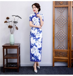 White with blue porcelain printed chinese dresses traditional cheongsam qipao dresses host singers miss etiquette show banquet dresses
