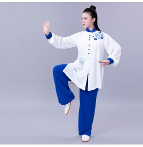 white with blue Tai Chi clothing kung fu uniforms for women and men martial art performance clothing team fitness clothing printing two-piece suit