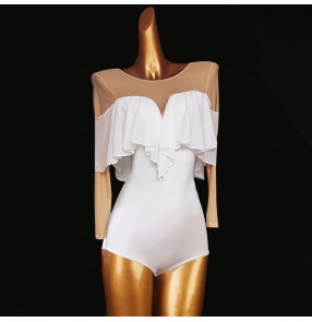 White with flesh latin ballroom dance bodysuits for women girls modern dance singers stage performance catsuits leotards tops
