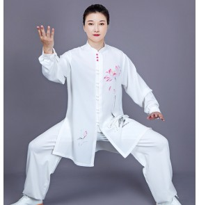 White with lotus printed Tai Chi Clothing for Women's chinese kung fu uniforms Tai Chi Practicing Women's taichi fitness gymnastics morning exercises practice Wear