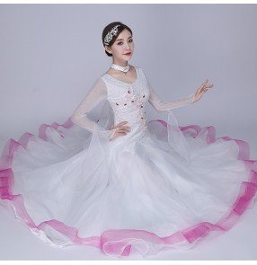 White with pink ballroom dancing dresses for women waltz tango dance dresses