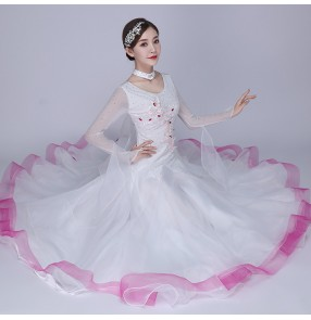 White with pink women's girls competition ballroom dancing dresses stage performance waltz tango dance dresses
