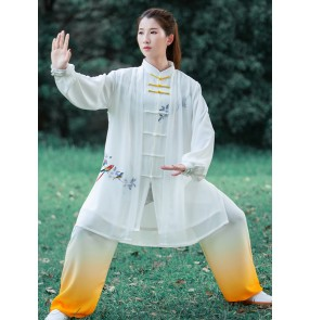 White with yellow gradient Tai Chi clothing for men and women chinese kung fu wushu martial art performance clothes morning exercises gyms Tai Chi quan practice clothing