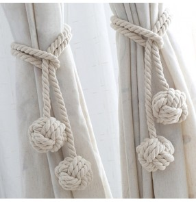 Window curtain decoration tie ball hand-woven ivory cotton thread tie hanging ball decoration creative curtain accessories wholesale