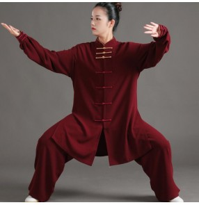 Wine black blue mint color Tai Chi clothing male and femal Chinese kung fu whushu uniforms martial art performance clothing morning exercises gyms practice clothes for men women