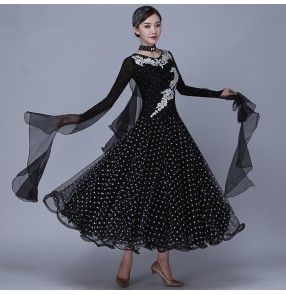 wine black Women's competition ballroom dancing dresses girls polka dot sequin rhinestones waltz tango dance dresses
