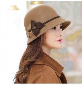 wine brown Woolen banquet evening party fedoras church hat for women British female wedding party wool hat fashion woolen fisherman hat for female
