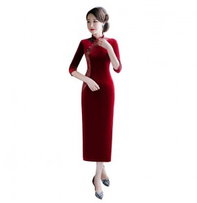 Wine chinese dress traditional china qipao dress oriental stayle cheongsam retro dress host stage performance evening party dress
