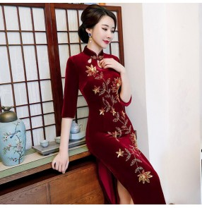wine color Chinese Dresses traditional chinese qipao dresses for women stage performance photos miss etiquette performance dresses