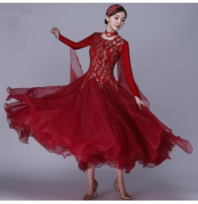 Wine colored girls women ballroom dancing dresses professional competition tango waltz stage performance dance dresses