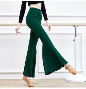 Wine dark green blue Latin ballroom dance pants for women boot cut pant Art test body model walks show training clothing Classical modern Latin trousers women
