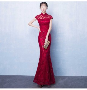 Wine red lace chinese dress for women Toast dress bride cheongsam red long temperament slim fishtail wedding evening dress qipao skirt women