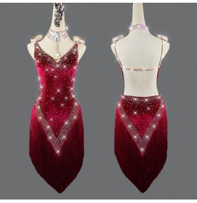 Wine velvet diamond competition latin dance dresses for women girls salsa rumba chacha dance dress stage performance  latin dance costumes for female