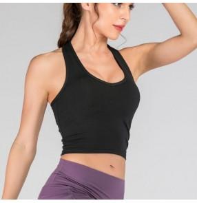 Women Backless Gym Yoga Crop Tops Yoga Shirts  halter neck dance Training Top Fitness Running Sport T-Shirts