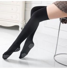 women Belly Latin dance socks for female non-slip practice yoga clothes socks cotton over knee performance dance socks