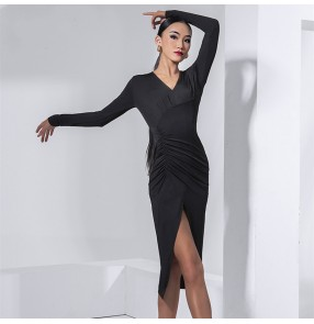 Women Black apricit long sleeves Latin dance dress female adult waist ruffled high slit skirt standard salsa rumba dance practice clothes