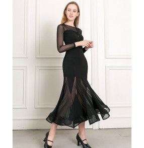 Women black ballroom dance dresses Female latin dance dress Practicing clothes and big skirts Waltz costume