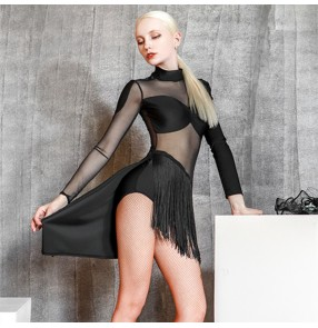 women black fringed Latin dance body dresses Art examination service female adult high neck mesh see through  latin salsa rumba dance fringed dress