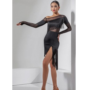 Women black fringed latin dance dresses inclinded shoulder long sleeves side split tassels competition salsa rumba chacha dance dresses