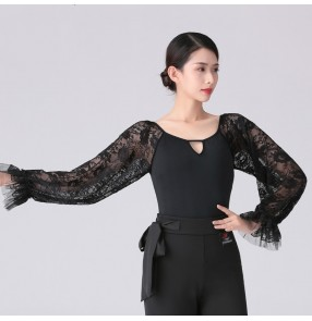 women black lace Latin dance bodysuits female adult slim long-sleeved one-piece dance art test practice clothes modern ballroom dance clothes jumpsuits top