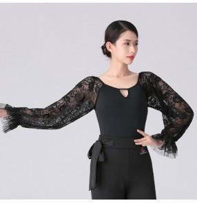 women black lace Latin dance bodysuits female adult slim long-sleeved one-piece dance art test practice clothes modern ballroom dance clothes jumpsuits top