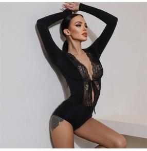 Women black lace Latin dance bodysuits lace ballroom dancing jumpsuit V-neck gymnastics suit Latin dance practice dance body tops