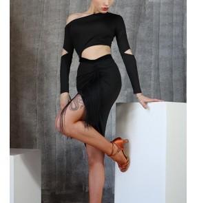 Women Black Latin dress women Waist hollow practice sala rumba dance skirt Irregular hip dance clothes